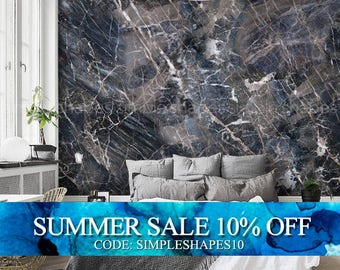 Marble Navy, Marble Extra Large Wall Art, Peel and Stick Wall Poster