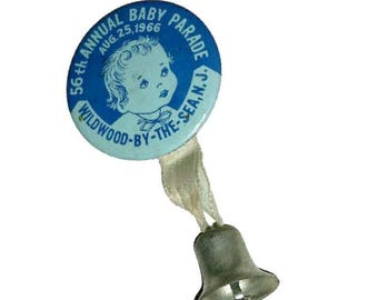 Vintage BABY PARADE Button Blue Pin Bell 60s Baby Contest Shower Gift Newborn Baby Boy Memorabilia NJ Souvenir Ribbon Badge Brooch Broach