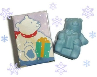 Vintage Avon POLAR BEAR SOAP 90s Arctic Antic Soap Pastel Blue Winter Bear Gift Kids Party Favors Unisex Holiday Christmas Stocking Stuffer