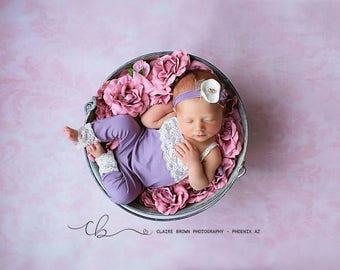 Tenley purple Lace Newborn Romper photo prop with matching headband