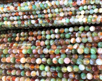 rainbow agate round beads - colorful necklace beads - candy agate beads -agate semi precious stone - jewellery making materials -15inch