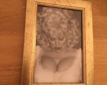 Dolly Parton kitsch print in gold  frame 6x4""