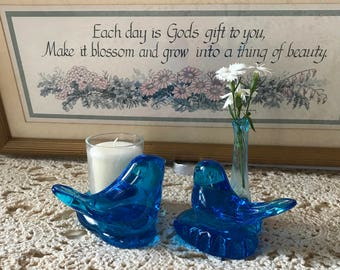 Bluebird of Happiness Candleholder and Vase signed
