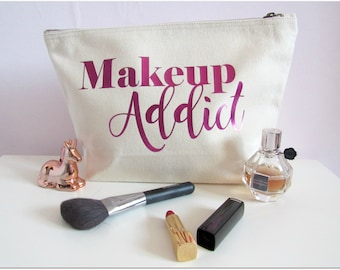 Personalised natural cream cotton make up addict cosmetic bag, make up bag, best friend gift, make up lover gift,
