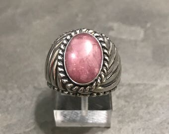Size 8, vintage sterling silver handmade ring, fine 925 silver statement ring with pink stone inlay, stamped 925
