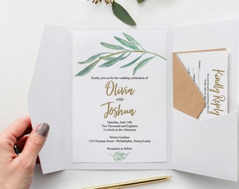 Rustic Greenery Wedding Invitation Template - Wedding Invite - Wedding Invitation Set - Wedding Template - Wedding Suite - Instant Download