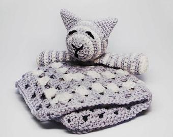 Cat Baby Blanket - Baby Cat Blanket - Baby Cat Toy - Baby Toy Cat - Crochet Cat Lovey - Cat Lovey - Hand Knit Cat Lovey - Baby Toys