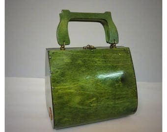 Green wood handbag vintage style handmade by V.and The wolf