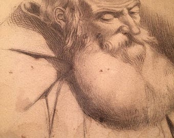 OLD MASTER DRAWING - original antique graphite on paper drawing - 18th Century