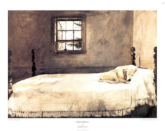 ANDREW WYETH - 'Master bedroom' - rare original collotype print - c1985 (Brandywine River Museum, PA) e