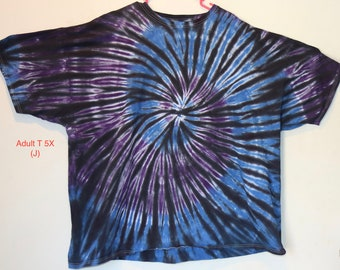 "5X Adult T-Shirt  ""Blue/Purple/Black"" Plus Size Tie Dye Shirt"