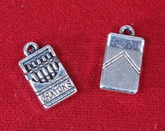 """10pc """"crayon box"""" charms in antique silver style (BC1276)"""
