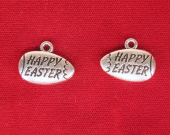 """BULK! 15pc """"Happy Easter"""" charms in antique silver style (BC1326B)"""