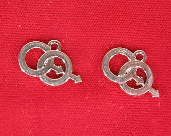 """BULK! 15pc """"same sex male"""" charms in antique silver style (BC1330B)"""