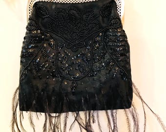 Vintage La Regale Black Satin Beaded Sequins And Feathers Evening Bags