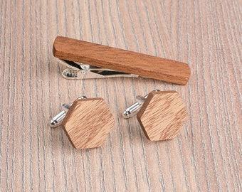 Wooden tie Clip Cufflinks Set Wedding Sapele Hexagon Cufflinks. Wood Tie Clip Cufflinks Set. Mens Wood Cuff Links, Groomsmen Cufflinks set.