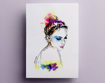 Dancer - illustration print - watercolor ink A4 poster