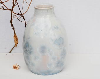White crystalline pottery vase, unique crystalline glaze, crystalline stoneware vase for flowers,  white ceramic vase, pottery home decor.