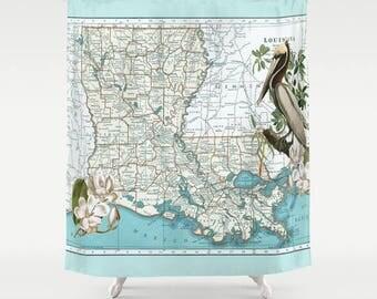 Louisiana Map Shower Curtain - Brown Pelican, Magnolia, state shower curtain,  aqua New Orleans, state pride