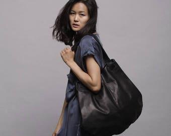 Handmade leather bags, Black leather bag- Soft leather bag - Tote bag- Carolina bag