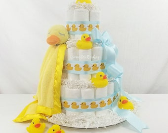 Ducky Diaper Cake  Ducky Baby Shower  Ducky Centerpieces  Ducky Baby Shower Cakes  Baby Cakes  Baby Shower Gifts  Neutral Gender Gift  Baby