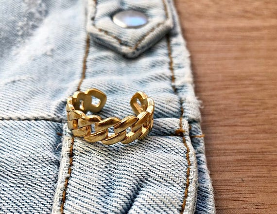 Gold Braided Rings • Adjustable Ring • Statement Rings • Stacking Ring • Chevalier Knuckle Midi • Gold Plated Brass Ring • Stackable Rings