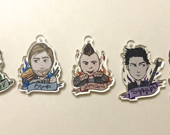 1.5 Inch Avenged Sevenfold Clear Acrylic Charms V5 Keychains SET