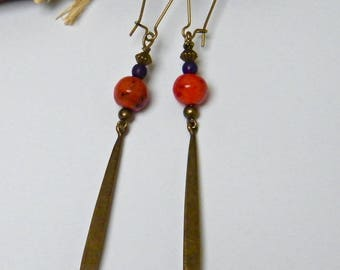 20% off PROMOTION - earrings red earrings, rustic, hanging, brass, glass, stone