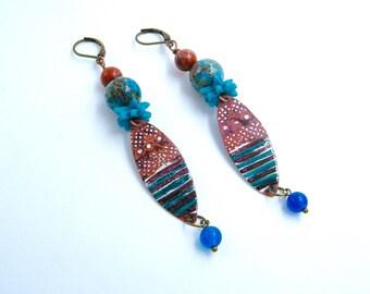 Boucles d'oreilles rustiques - primitives - cuivre - agate - perles verre - bijou artisanal - bijou fait main - pièce unique - ethnique