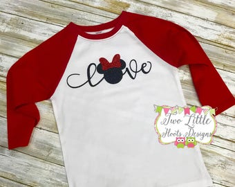 Disney Love Shirt ~ 3/4 length Raglan Tee ~ Minnie Mouse Shirt ~ Disney Trip Shirt ~ Minnie Love Disney Shirt