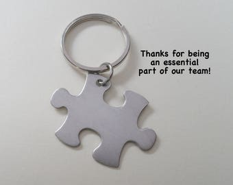 Employee Appreciation Gift Keychain, Puzzle Charm Keychain, Employee Gift, Coworker Gift, Work Team Gift, Thank you Gift, Teacher Gift