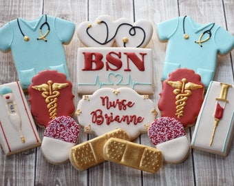 1 Dozen Nurse Doctor Medical Themed Decorated Cookies