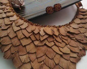 Brown necklace Leather necklace Evening necklace Boho necklace Gypsy style Statement necklace Bib necklace Tribal necklace Fringe necklace