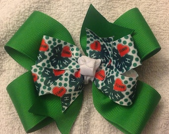 4H Double Stacked Pinwheel Boutique Hair Bow Clip Toddler Girl i Love 4H