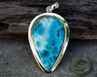 Larimar Pendant - Large Marbled Larimar pendant - AAA Larimar - Blue Pectolite Pendant - Larimar necklace - larimar pendant - blue Pectolite