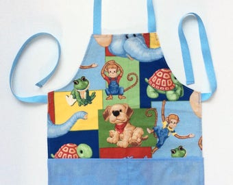 Kids Handmade Apron, Play Apron, Child Apron, Toddler Apron, Velcro, Kids Party Apron, Little Girl Boy Apron, Kids Pinny