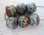 Glass Lampwork Bead set of 6 Charcoal Red Speckled with Raku and Fine Silver Etched Finish
