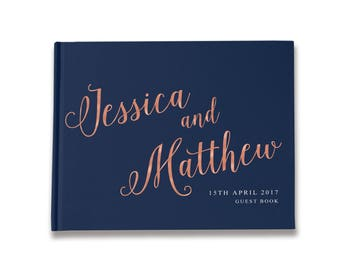 Navy and Blush Wedding Guest Book, Navy Blue and Pink Wedding, Navy and Rose Gold Wedding Guest Book, Color Choices Available, GB 129
