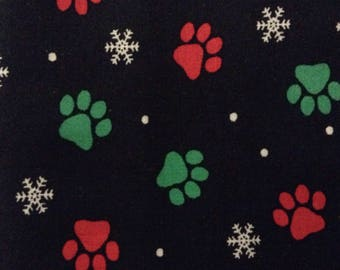 One Half Yard of Fabric Material - Christmas Paws Black