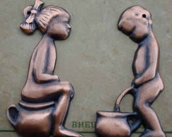 Vintage Set of 2 Solid Copper Door Bathroom Signs/Toilet signs/ Set of 2 soviet WC Door Plaques, Toilet Door Signs/ 1990s