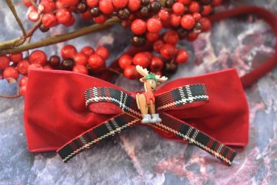 Festive red velvet with tartan reindeer bow - Baby / Toddler / Girls / Kids Elastic Hairclip / Headband / Hairband/ Barrette / Christmas