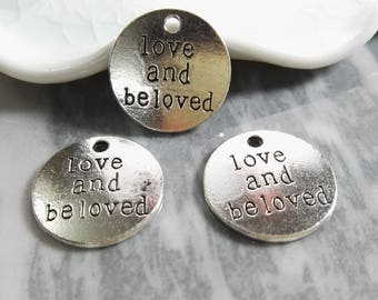 30pcs love and beloved Pendants, Wholesale Charms , Bulk Charms , Quote Charms , Message Charms , Word Charms