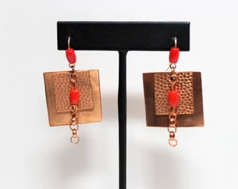 Square Textured Copper and Coral Earrings