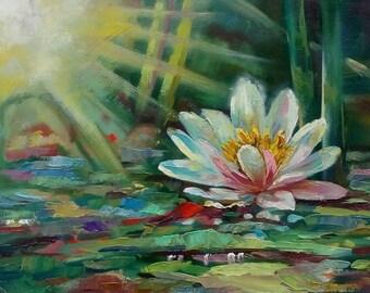 Original Oil Painting Water lilies  Flowers