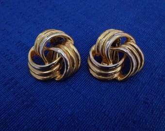Gold Tone Love Knot Clip On Earrings,Gold Clip On Earrings,Art Deco Clip On Earrings