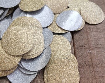 Gold and Silver Glitter Circle Table Confetti / Round Table Decor / Wedding Confetti / Anniversary Decoration / 100 Pieces