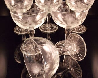 Vintage Champagne Coupe Glasses Etched Floral Set of 6