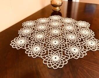 Handmade WHITE Crochet Beaded Doily