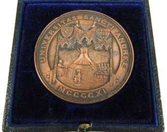 FREE POST - Rare Antique Bronze Medal, St Andrews University, History Honours, Edwardian Award, Alex Kirkwood Box, Schooling Medal, Degree