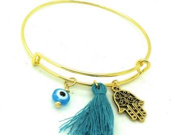Evil eye gold womens bangle bracelet, evil eye blue bracelet, evil eye and hamsa bangle bracelet, evil eye blue tassel bangle bracelet